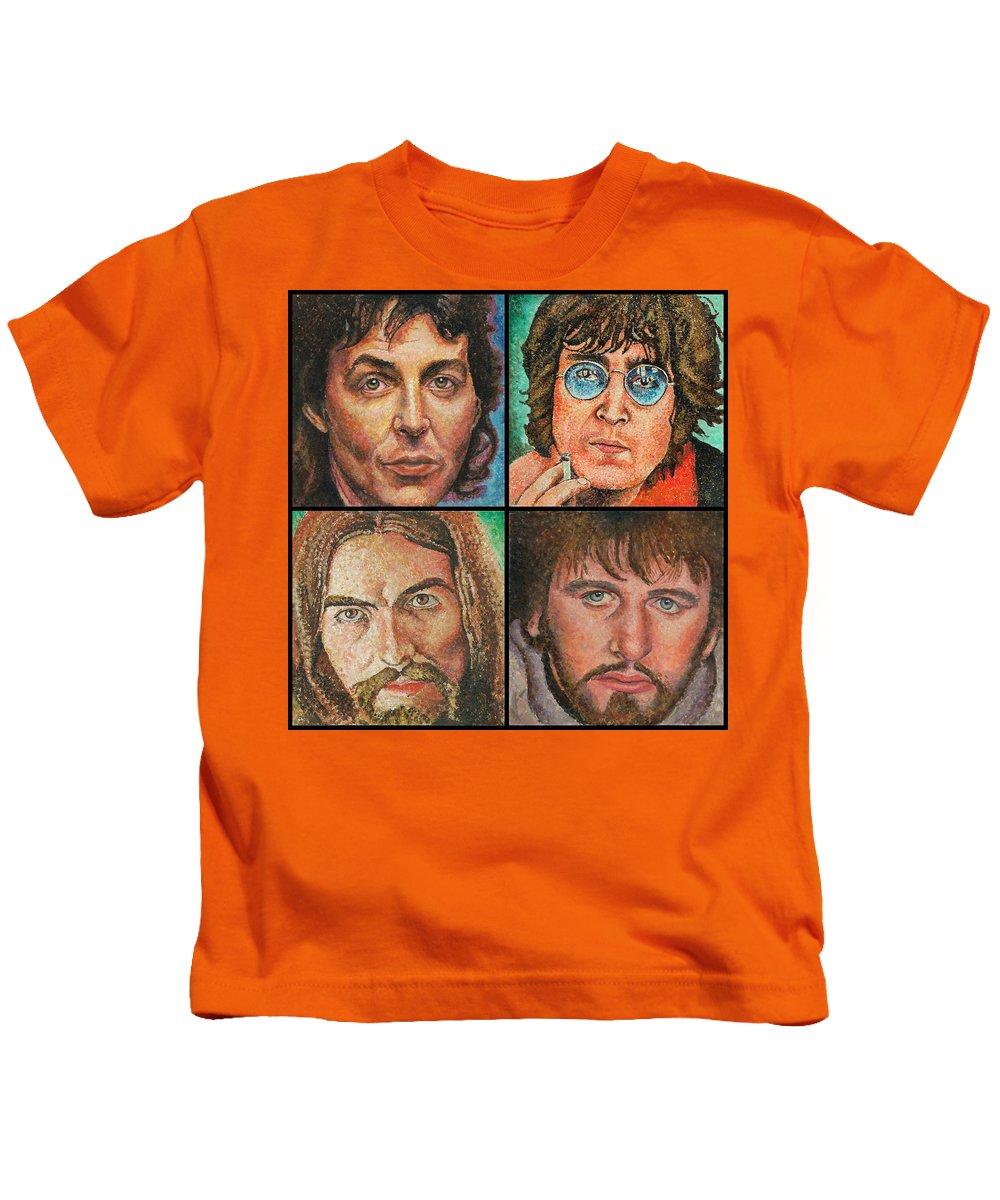 Beatles Art Kids T-Shirt featuring the painting The Beatles Quad by Melinda Saminski