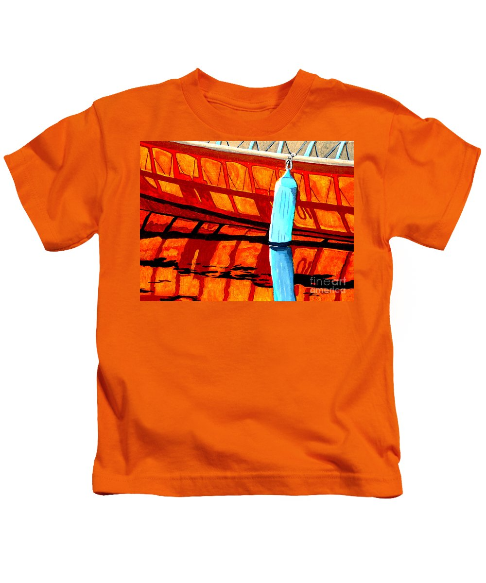 Canoe Kids T-Shirt featuring the painting The Blue Fender by Anthony Dunphy