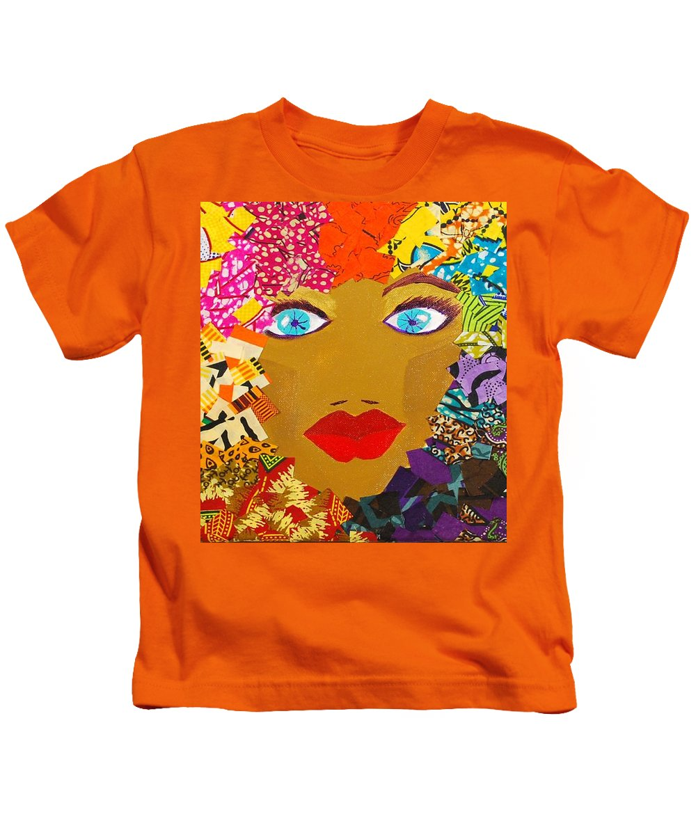 Collage Kids T-Shirt featuring the tapestry - textile The Bluest Eyes by Apanaki Temitayo M