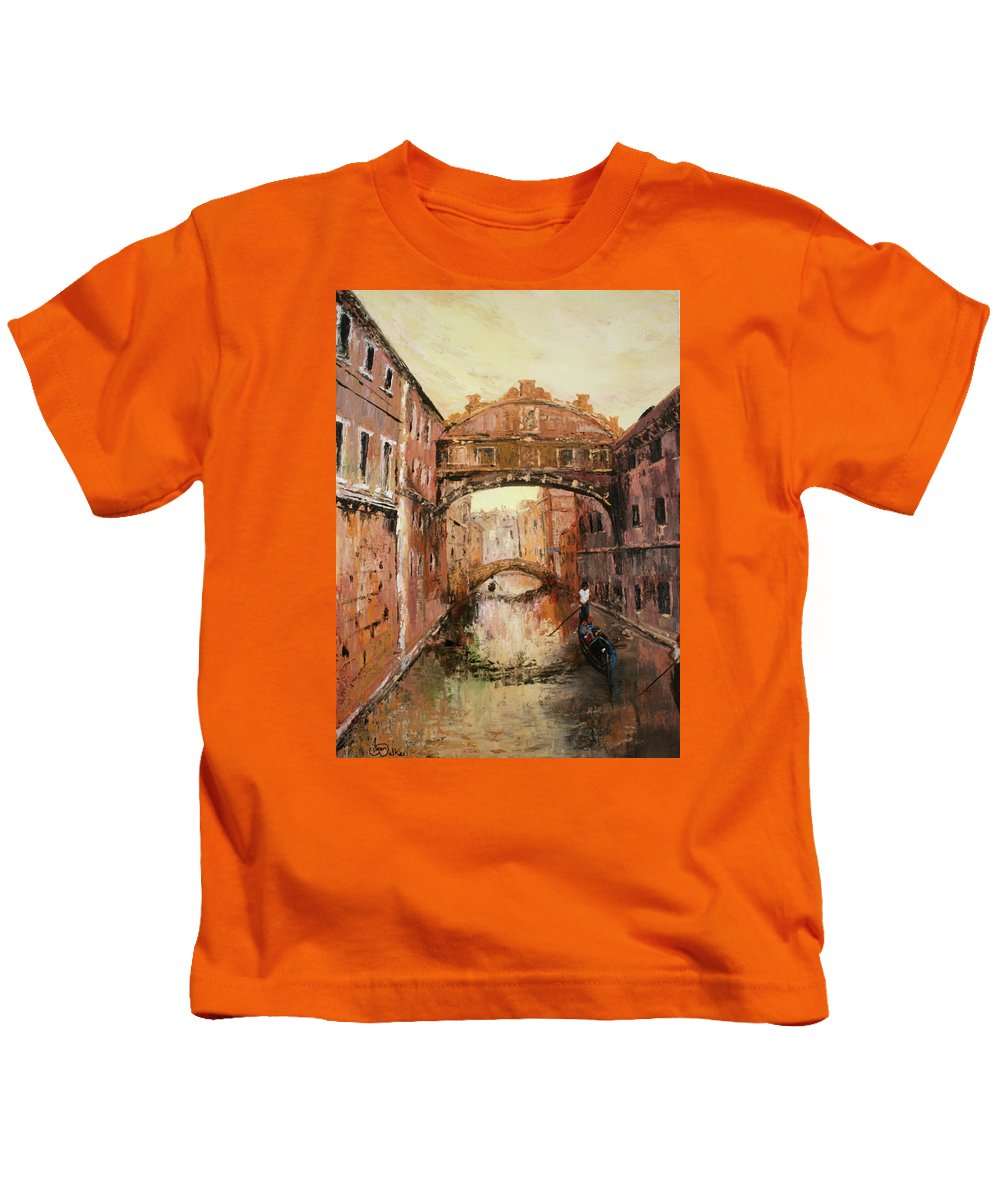 Venice Kids T-Shirt featuring the painting The Bridge Of Sighs Venice Italy by Jean Walker