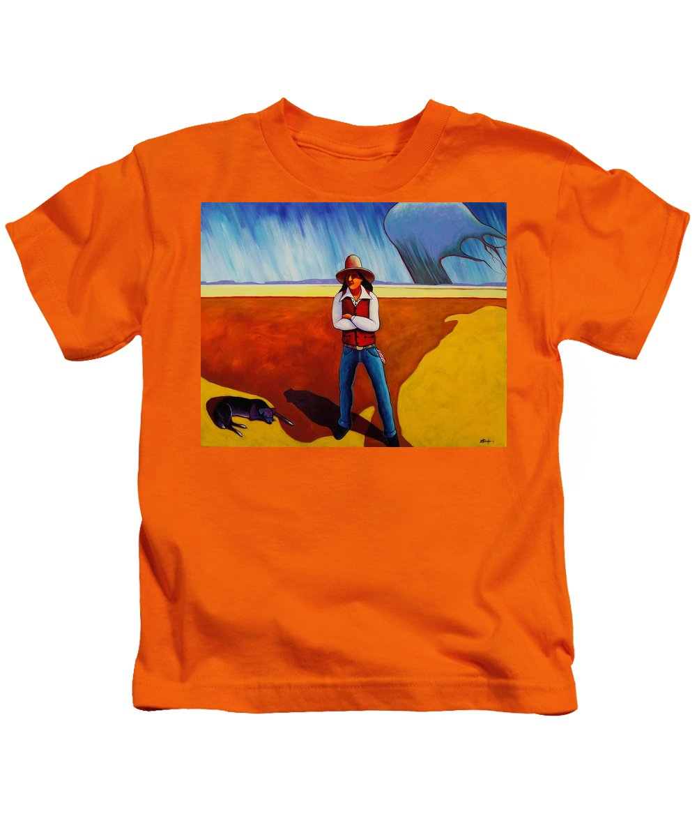 Native American Kids T-Shirt featuring the painting The Logic Of Solitude by Joe Triano