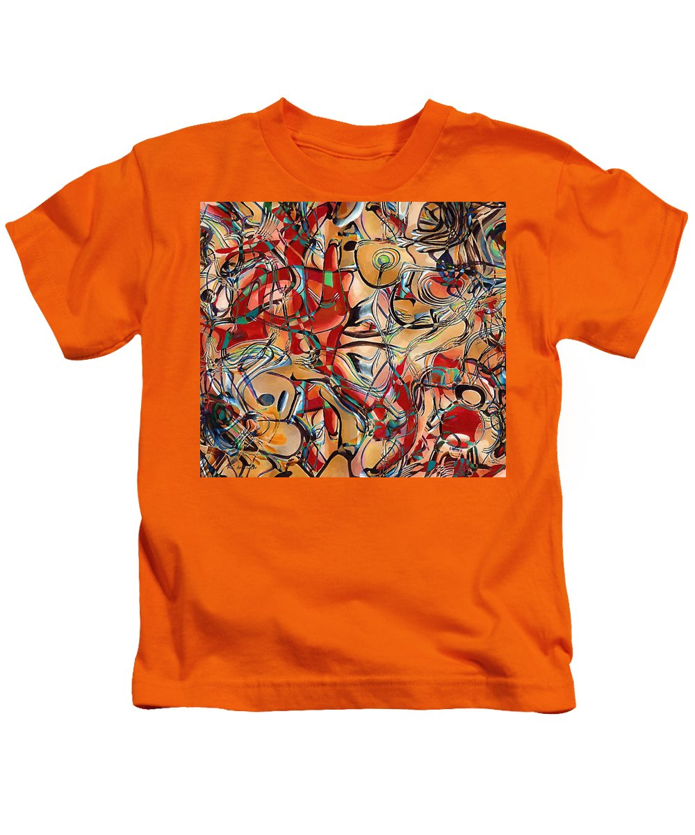 Abstract Kids T-Shirt featuring the painting The Medicated Choir by RC DeWinter