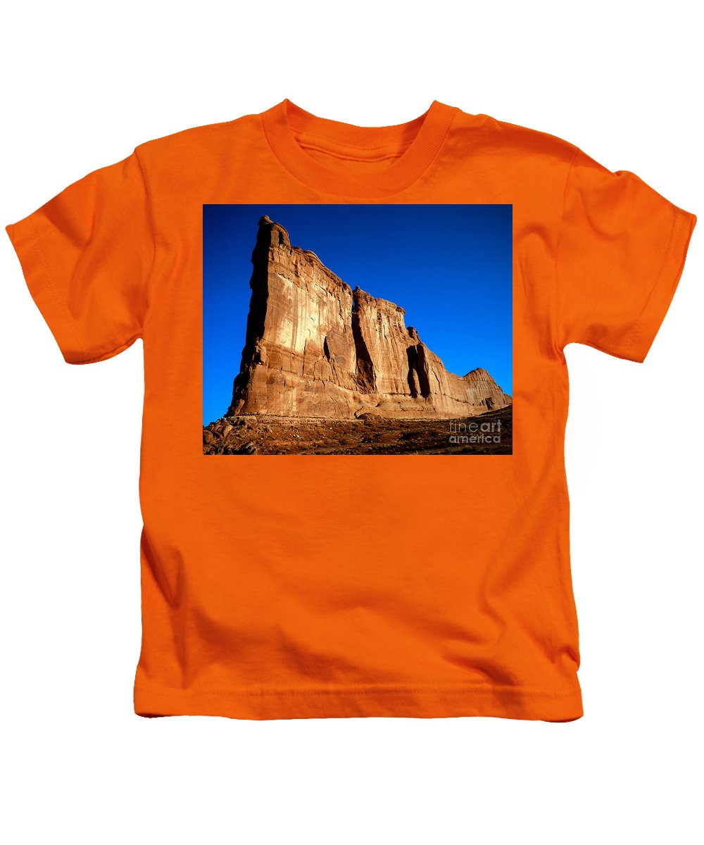 Arches National Park Kids T-Shirt featuring the photograph The Organ by Tracy Knauer