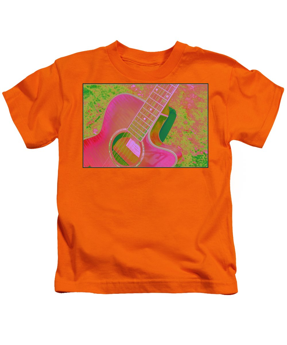 Guitar Kids T-Shirt featuring the photograph My Pink Guitar Pop Art by Dora Sofia Caputo Photographic Design and Fine Art
