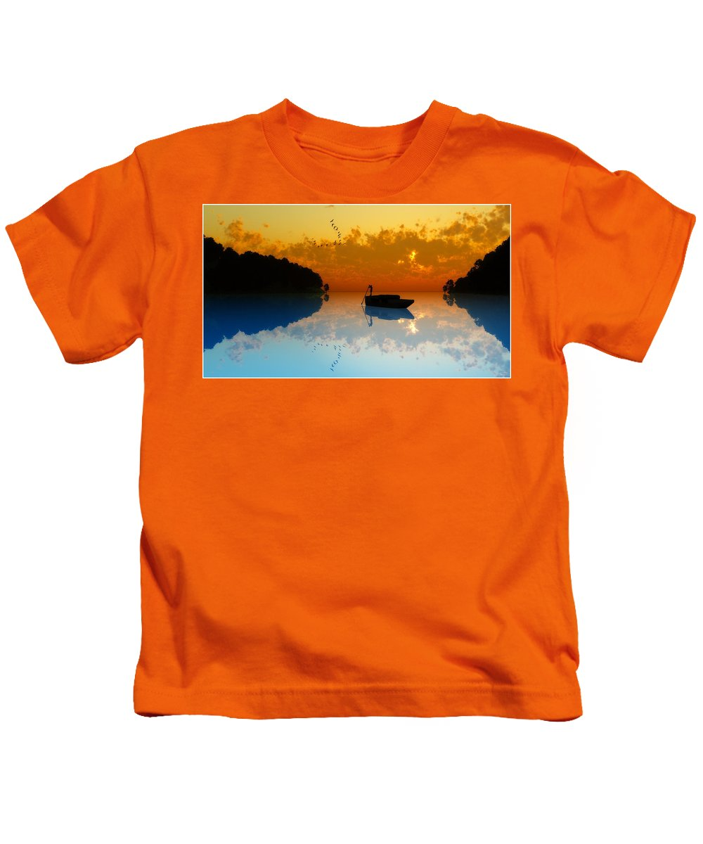 Seascape Kids T-Shirt featuring the digital art The Riverboat... by Tim Fillingim