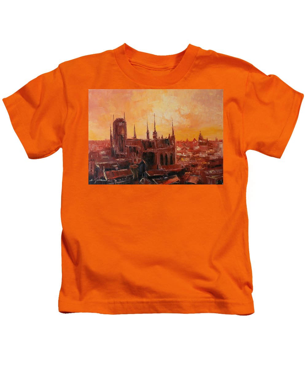 Gdansk Kids T-Shirt featuring the painting The Roofs Of Gdansk by Luke Karcz
