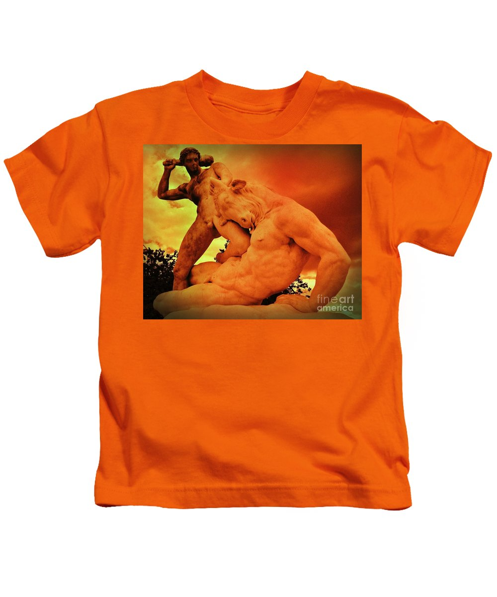 Mythology Kids T-Shirt featuring the photograph Theseus And The Minotaur by John Malone