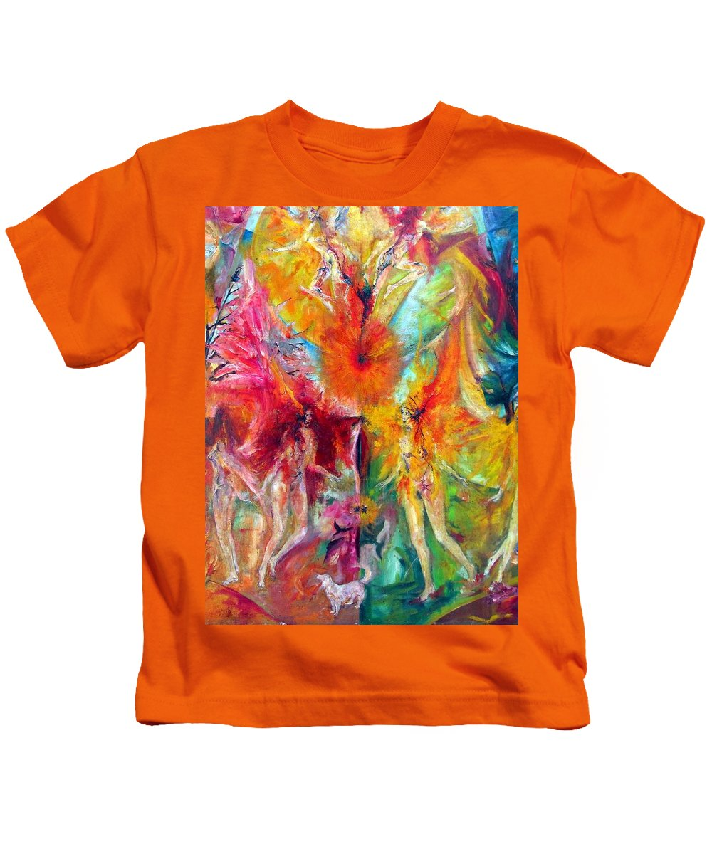 Colour Kids T-Shirt featuring the painting This What It I by Wojtek Kowalski