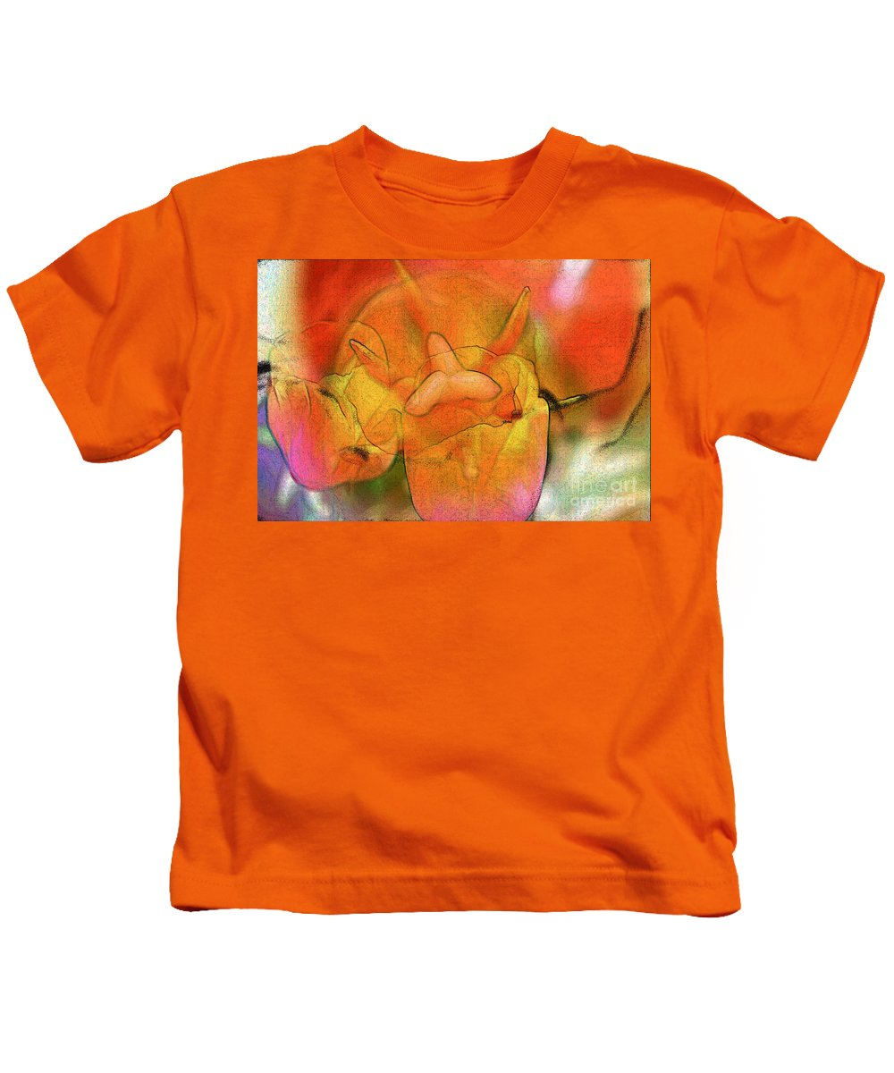 Flower Kids T-Shirt featuring the digital art Tulips by Chris R Kitchener