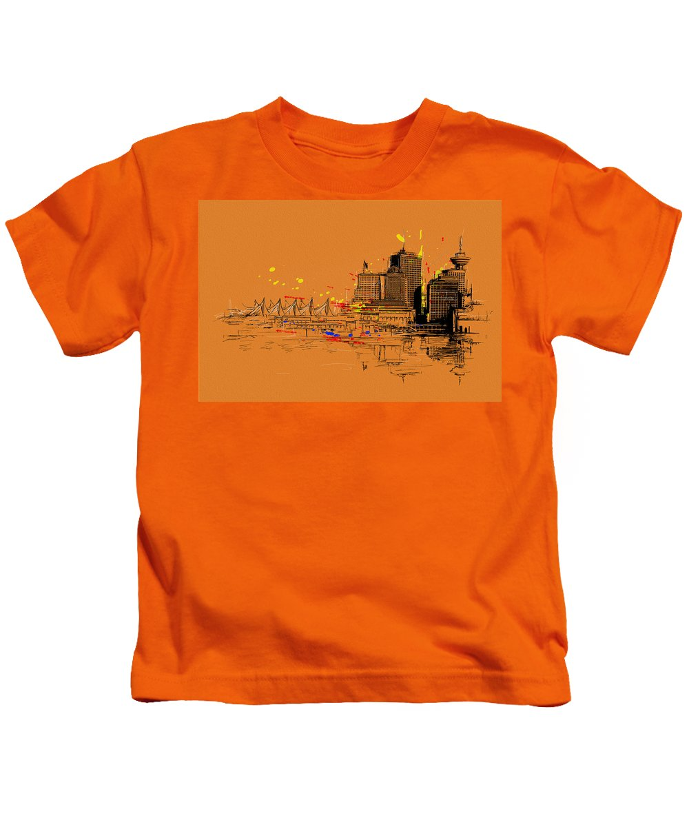 Vancouver Kids T-Shirt featuring the painting Vancouver Art 006 by Catf