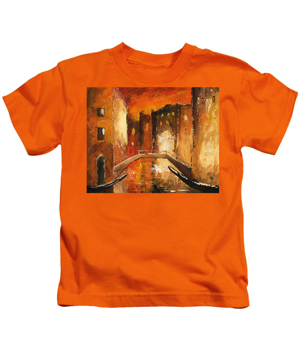 Art Kids T-Shirt featuring the painting Venice By Night 07 by Voros Edit