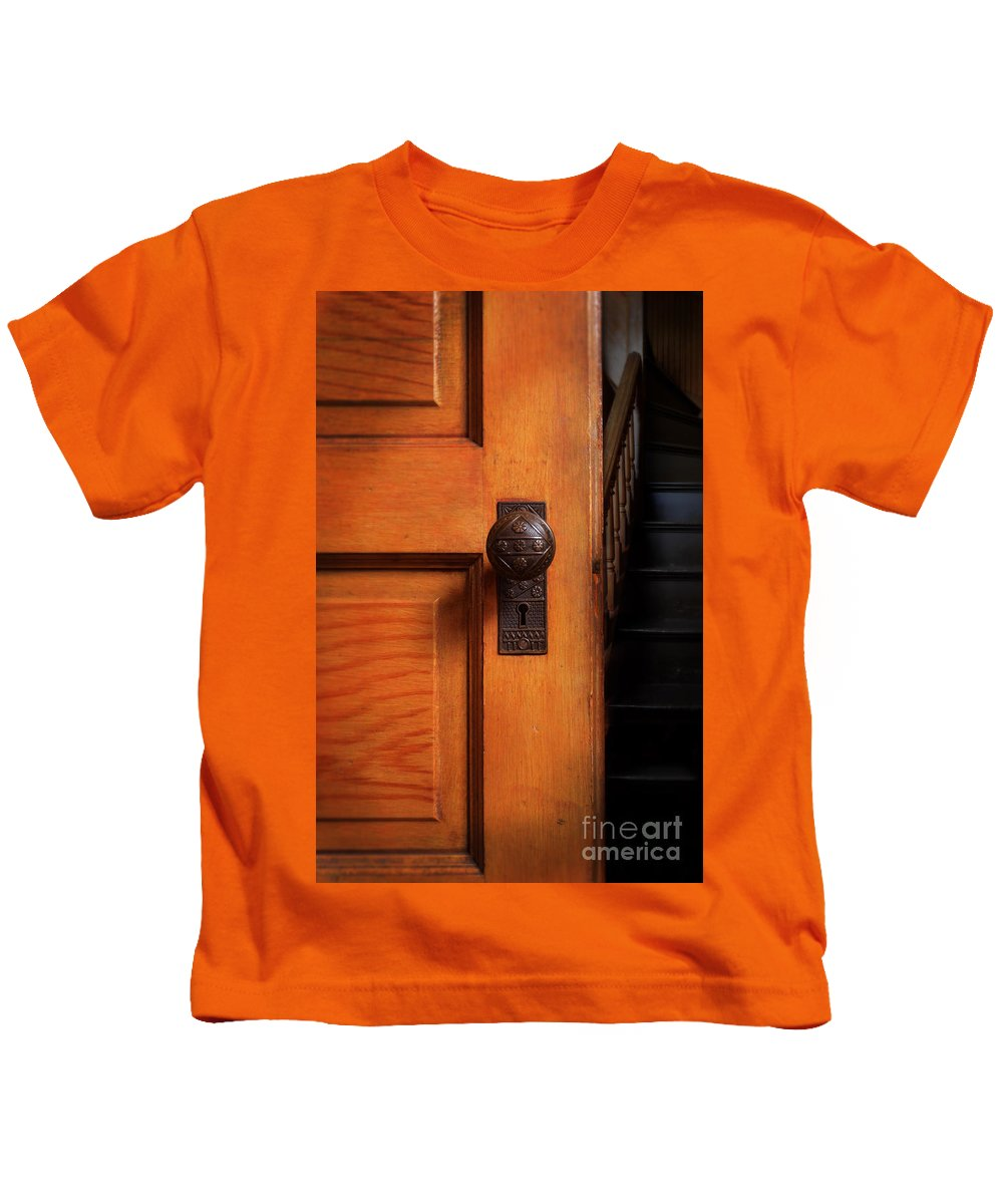 Door Kids T-Shirt featuring the photograph Vintage Door And Stairs by Jill Battaglia