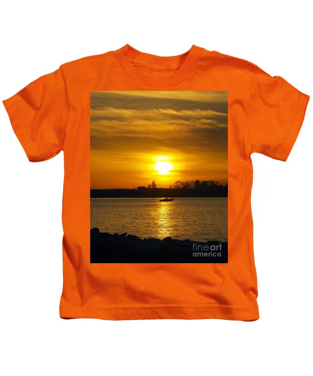 Sunset Kids T-Shirt featuring the photograph Walking The Dog by Joe Geraci