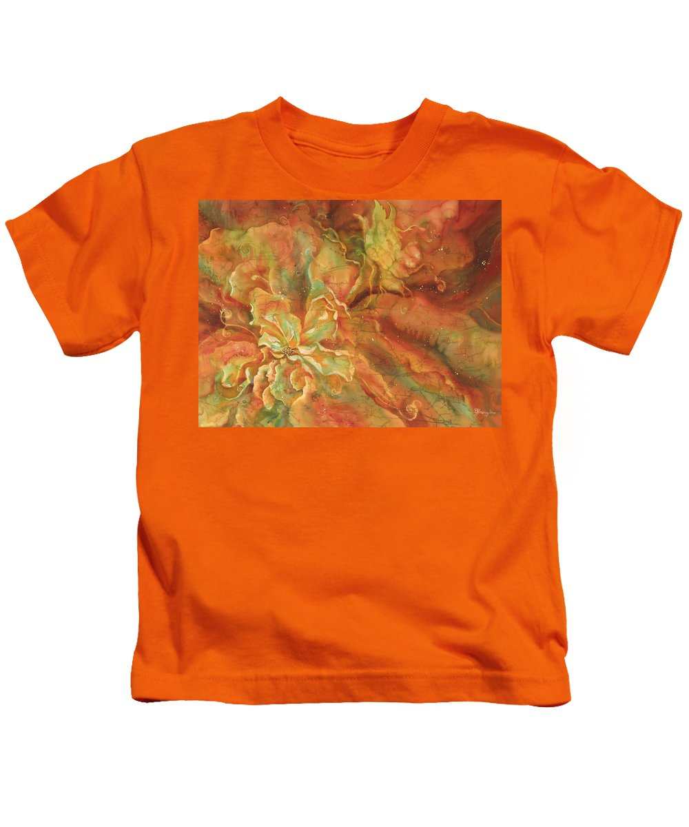 Silk Kids T-Shirt featuring the painting Walter Investigates A New Flower by Deborah Younglao