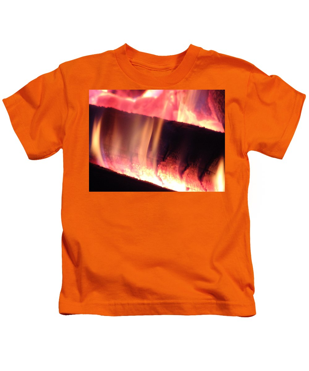 Fire Log Kids T-Shirt featuring the photograph Warm Glowing Fire Log by James Scott Preston