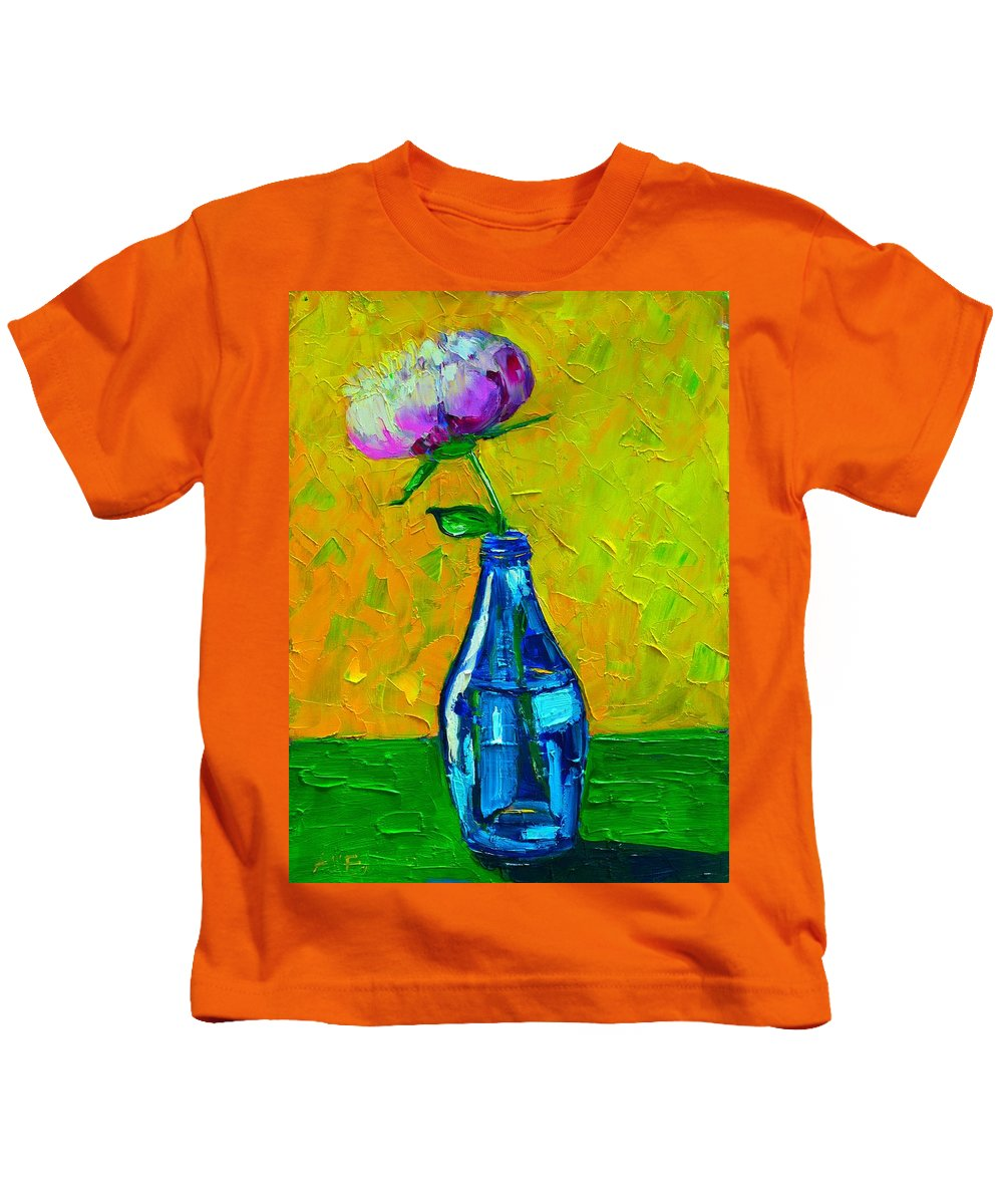 Floral Kids T-Shirt featuring the painting White Peony Into A Blue Bottle by Ana Maria Edulescu