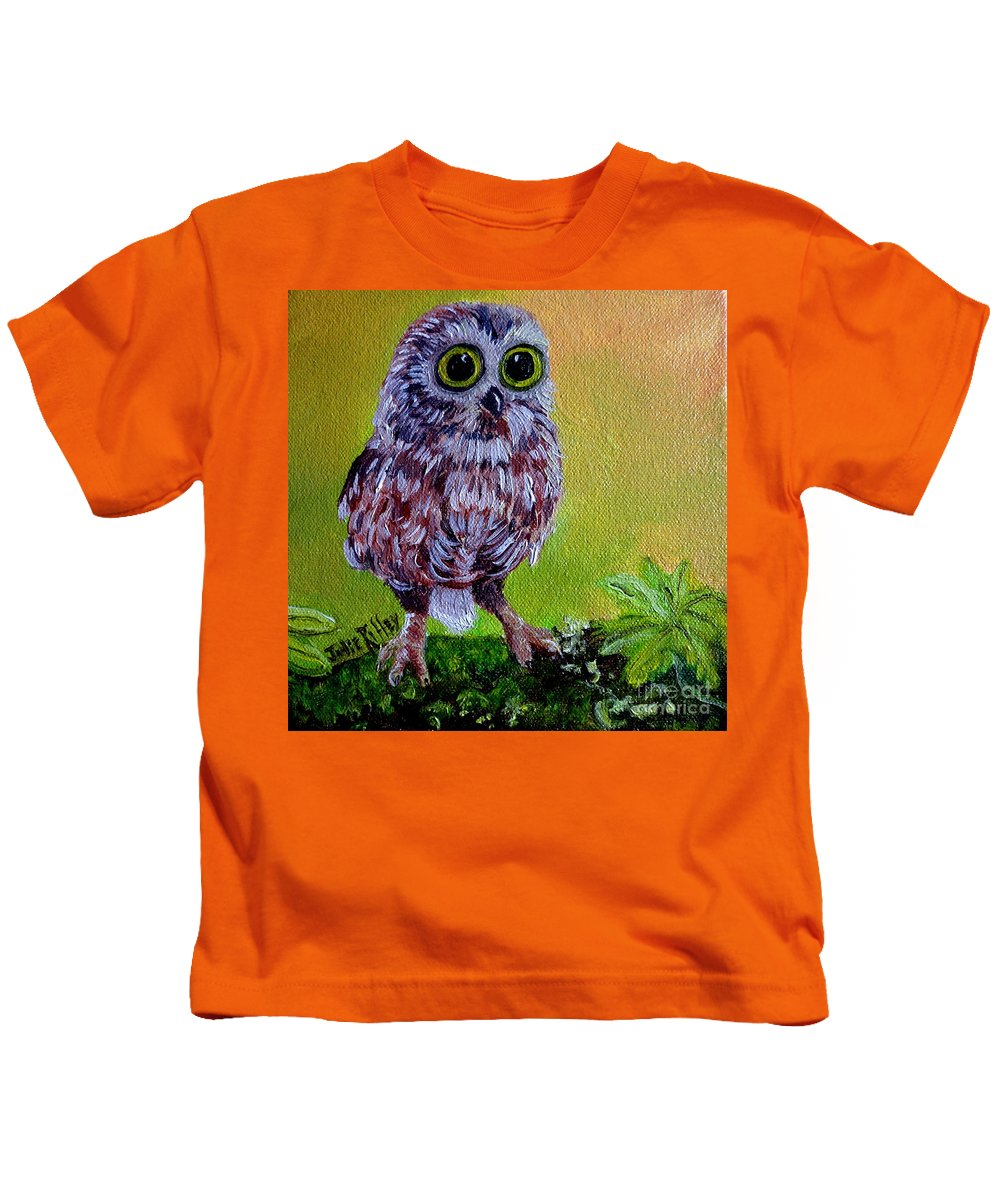 Owl Kids T-Shirt featuring the painting Who Me? by Julie Brugh Riffey