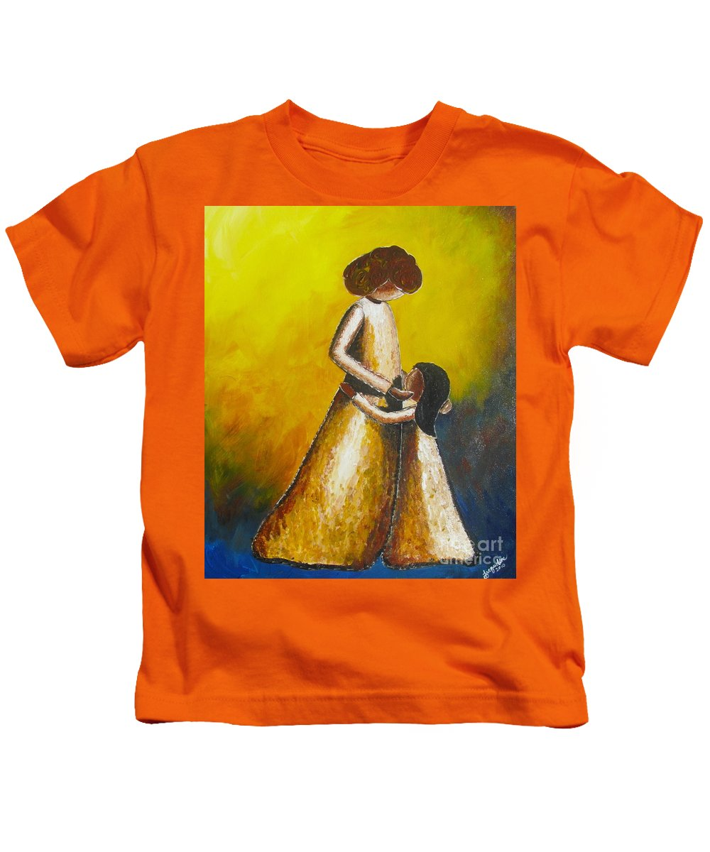 With Her Kids T-Shirt featuring the painting With Her by Jacqueline Athmann