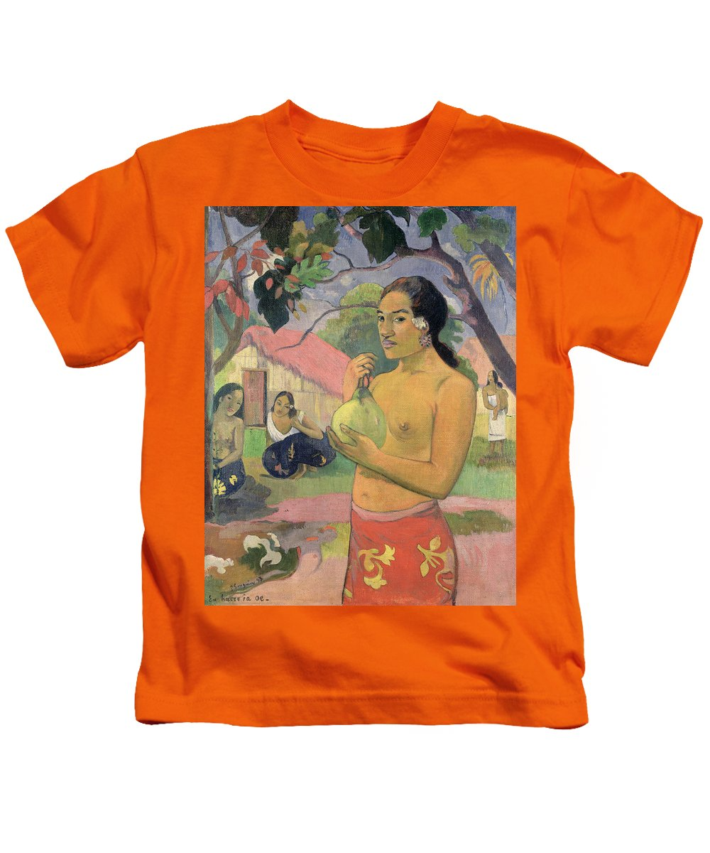 Ea Haere Ia Oe Kids T-Shirt featuring the painting Woman With Mango by Paul Gauguin