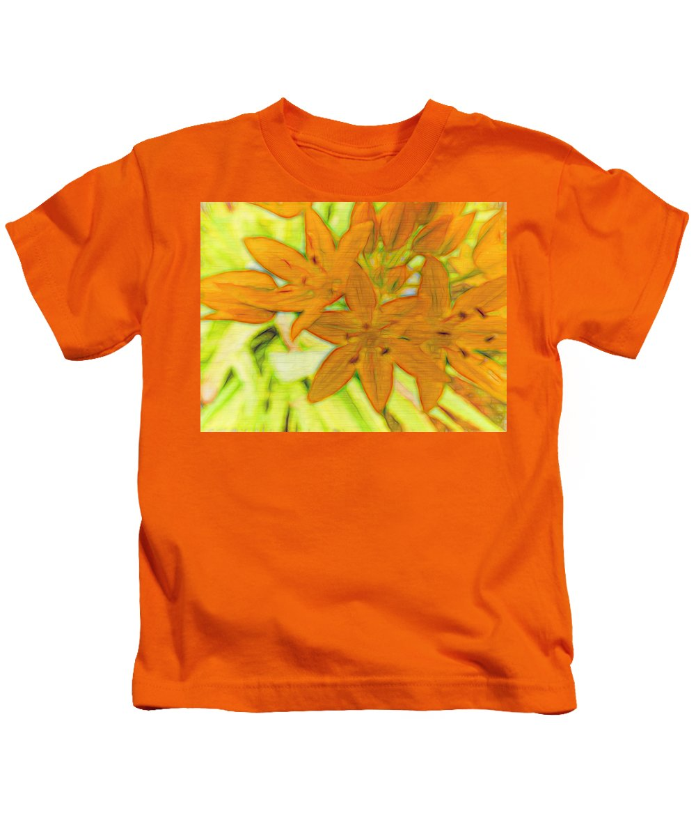Star Flowers Kids T-Shirt featuring the digital art Yellow by Cathy Anderson