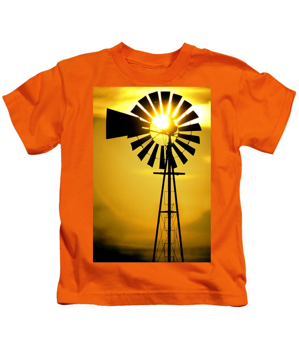Windmill Kids T-Shirt featuring the photograph Yellow Wind by Jerry McElroy
