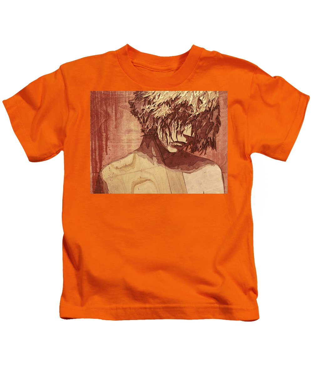 Wood Art Kids T-Shirt featuring the painting You Had Me At Goodbye by Bobby Zeik