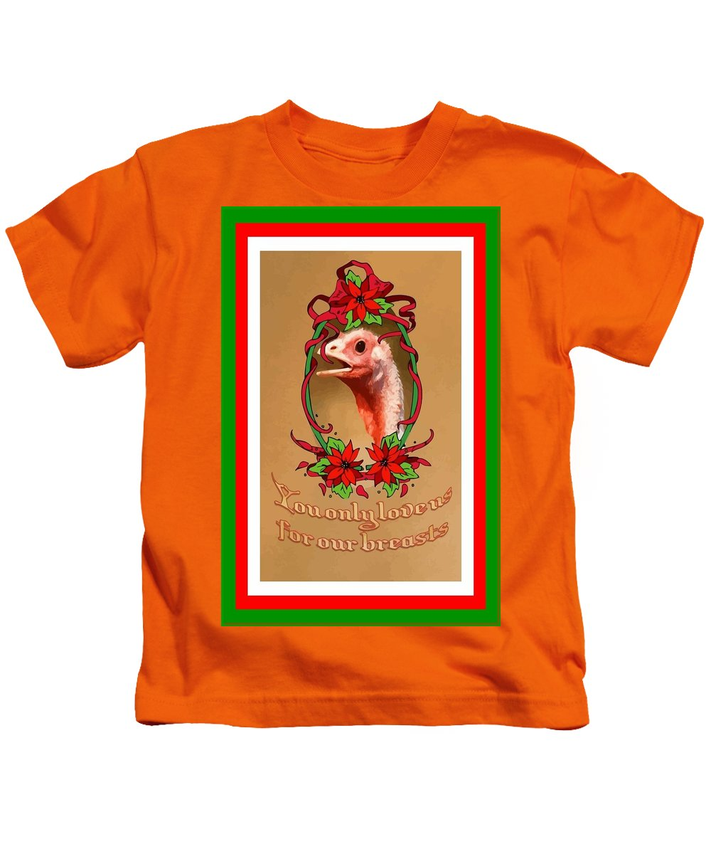 Christmas Kids T-Shirt featuring the digital art You Only Love Us For Our Breasts Christmas Card by Taiche Acrylic Art