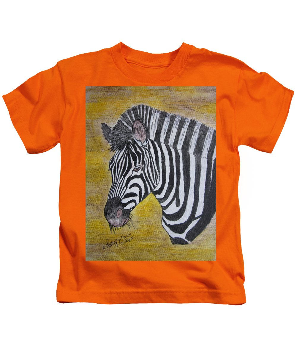 Zebra Kids T-Shirt featuring the painting Zebra Portrait by Kathy Marrs Chandler