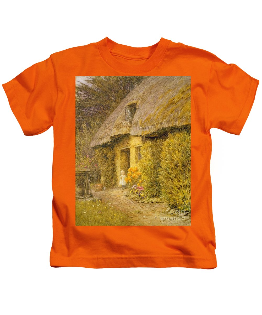 Well Kids T-Shirt featuring the painting A Child at the Doorway of a Thatched Cottage by Helen Allingham