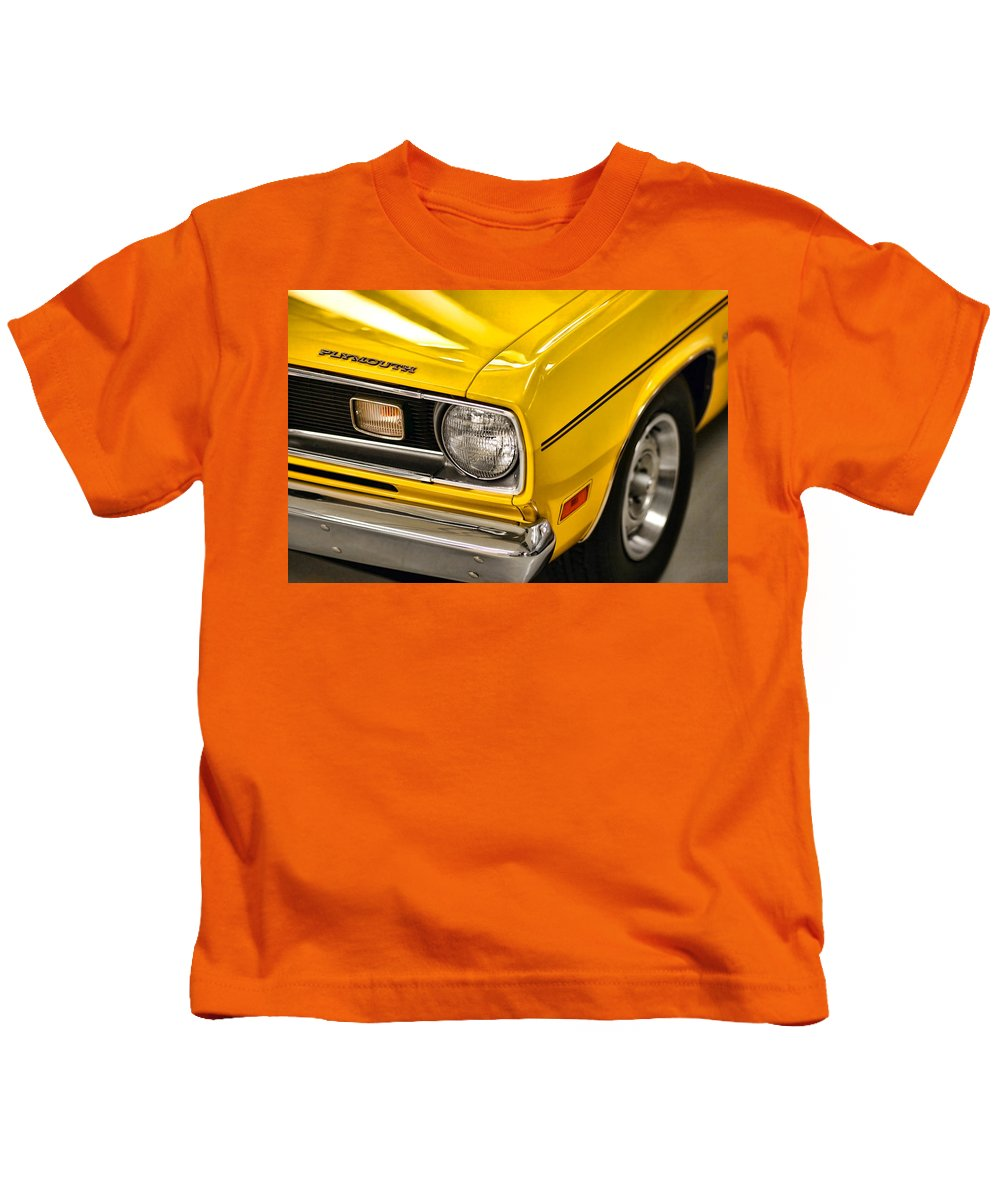 Plymouth Kids T-Shirt featuring the photograph 1970 Plymouth Duster 340 by Gordon Dean II
