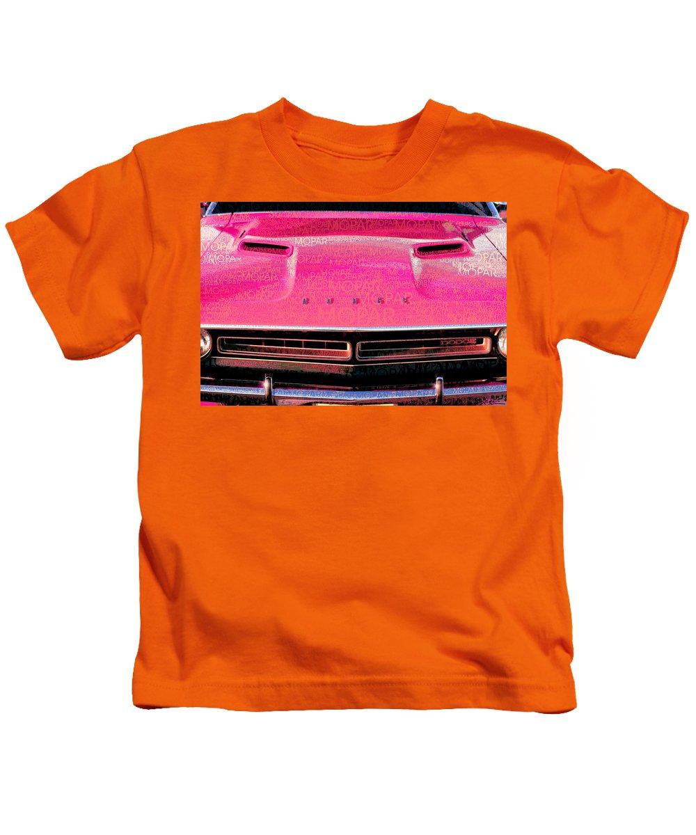 1971 Kids T-Shirt featuring the photograph 1971 Dodge Challenger - Pink Mopar Typography by Gordon Dean II