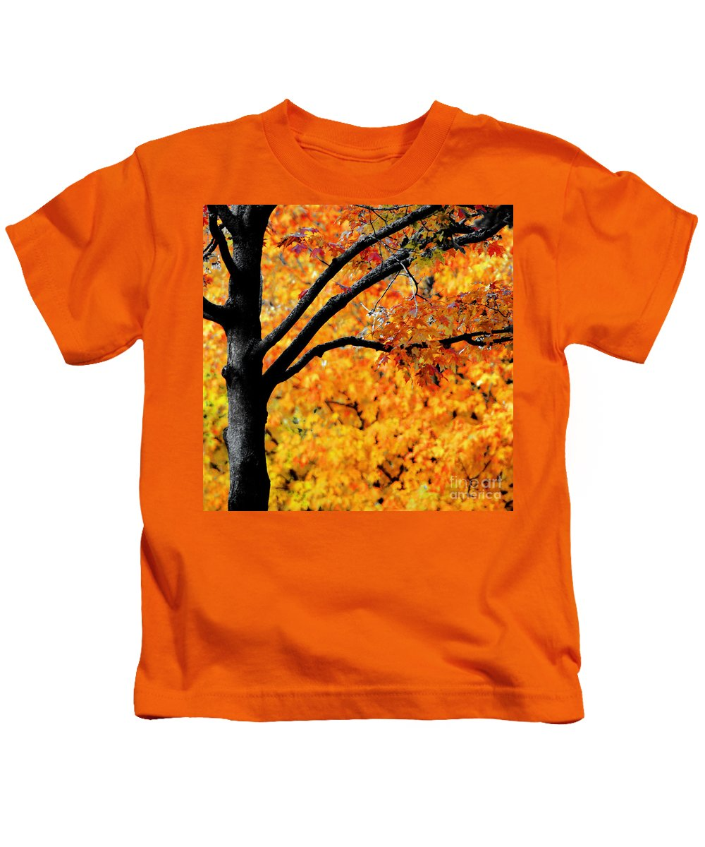 Fiery Orange Leaves Kids T-Shirt featuring the photograph Blaze by Optical Playground By MP Ray