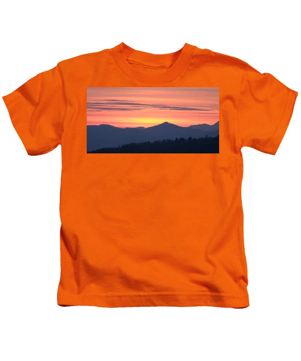Mountains Kids T-Shirt featuring the photograph Mountain Sunset by Ian Middleton