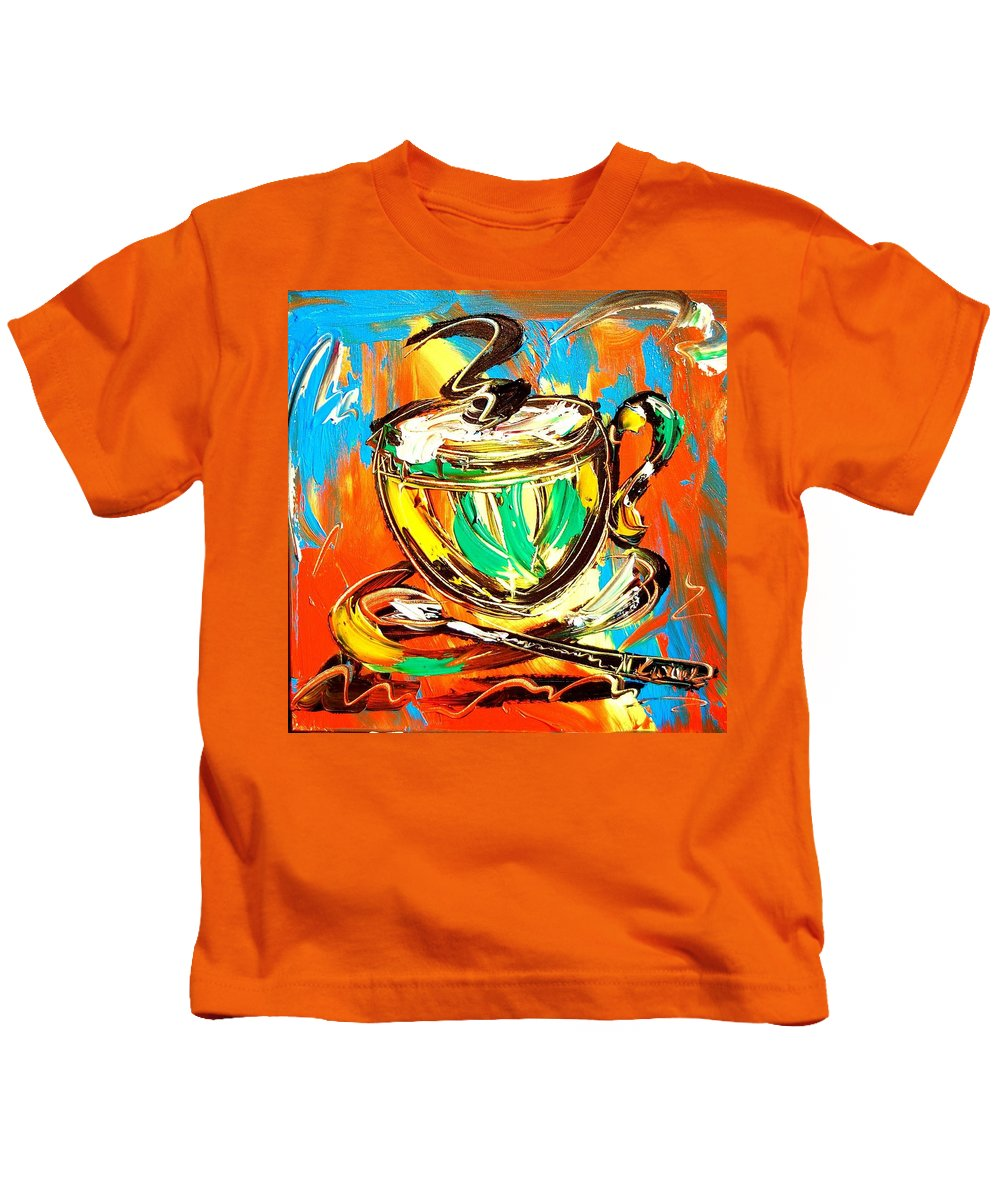Kids T-Shirt featuring the painting Coffee by Mark Kazav