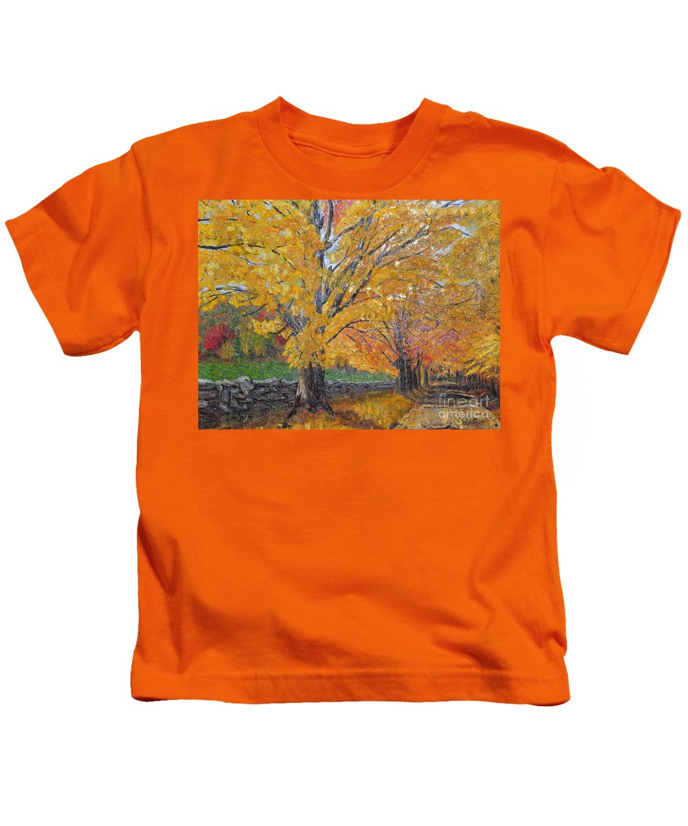 Fall Leaves Kids T-Shirt featuring the photograph Autum Trail by John Black