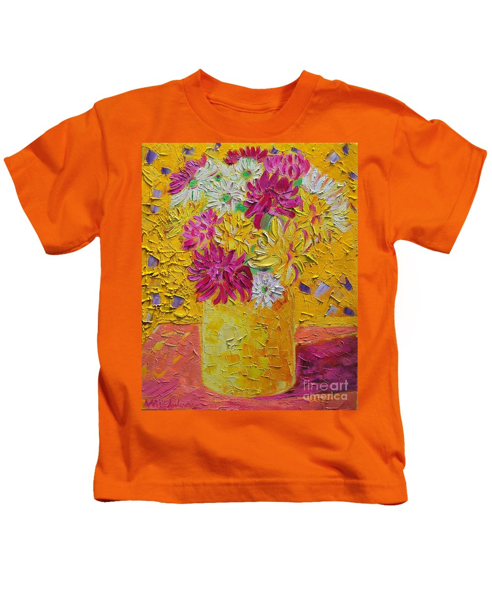 Floral Kids T-Shirt featuring the painting Autumn Flowers 4 by Ana Maria Edulescu