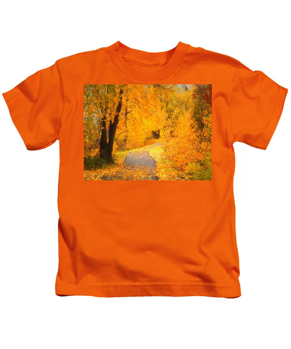 Leaves Kids T-Shirt featuring the photograph Autumn's Golden Corner by Tara Turner