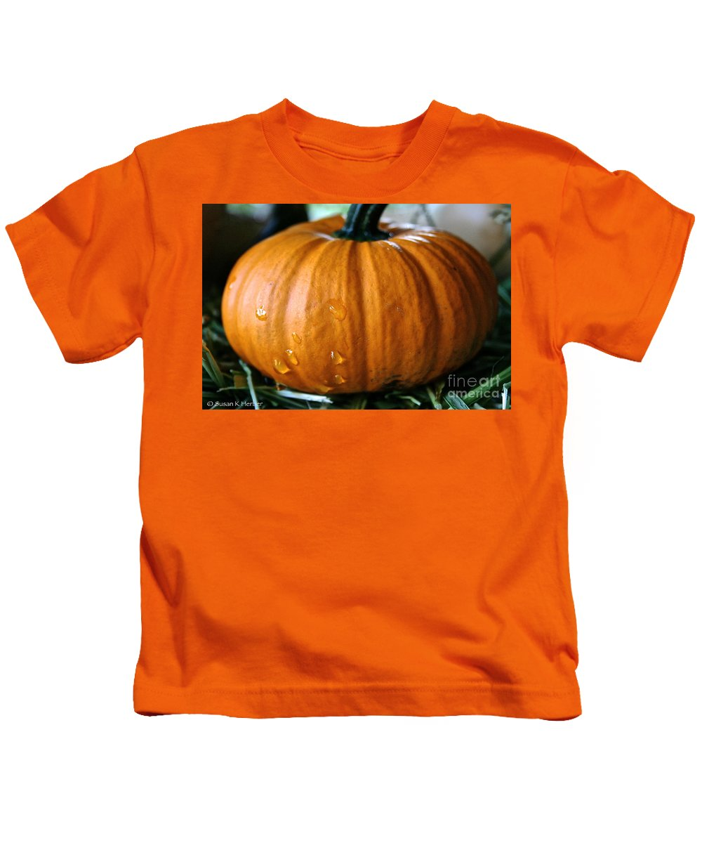 Outdoors Kids T-Shirt featuring the photograph Baby Pumpkin Tears by Susan Herber