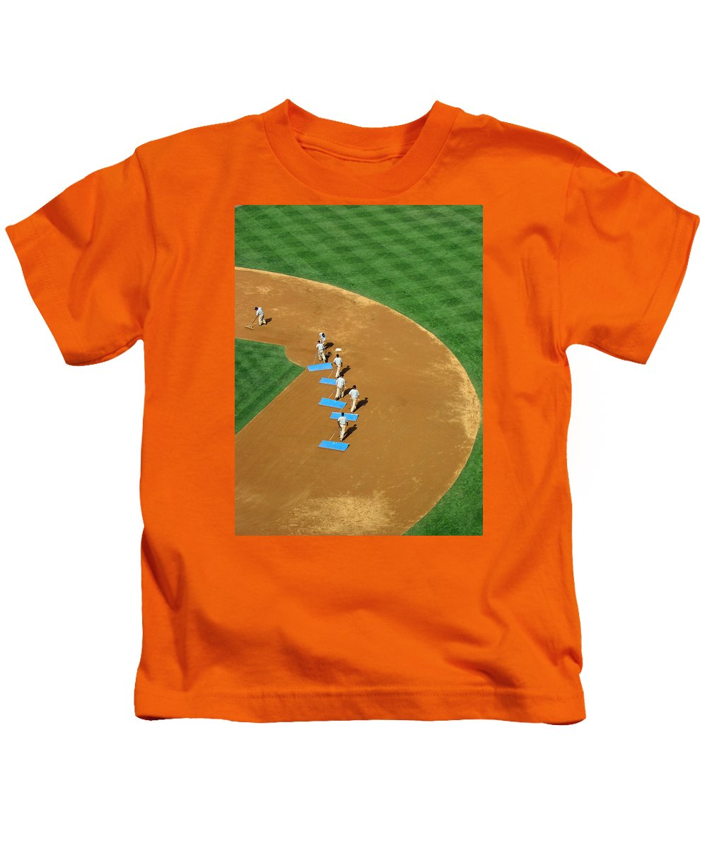 Sports Kids T-Shirt featuring the photograph Between Innings by Mike Martin