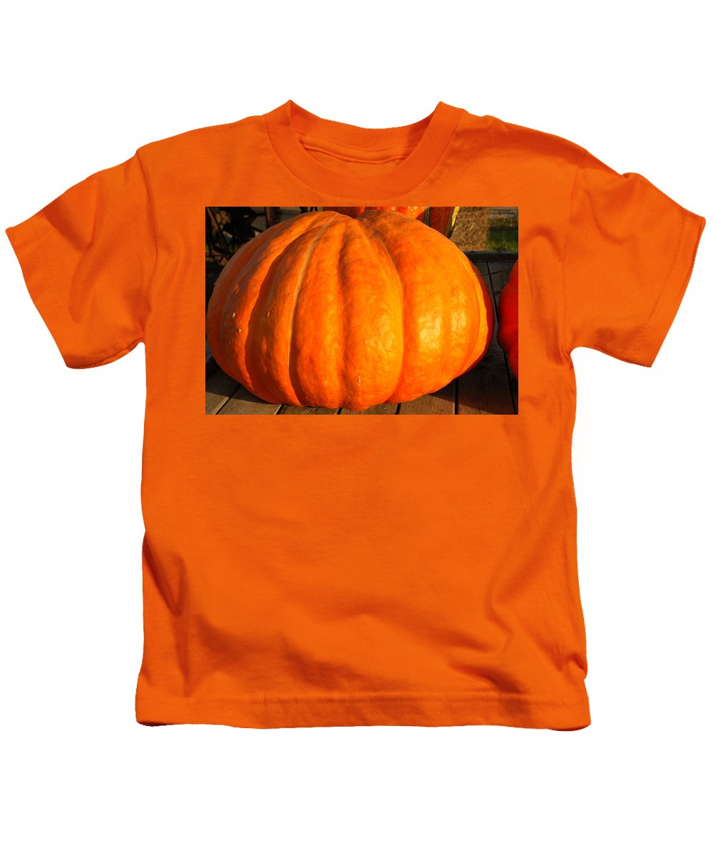 Food And Beverage Kids T-Shirt featuring the photograph Big Orange Pumpkin by LeeAnn McLaneGoetz McLaneGoetzStudioLLCcom