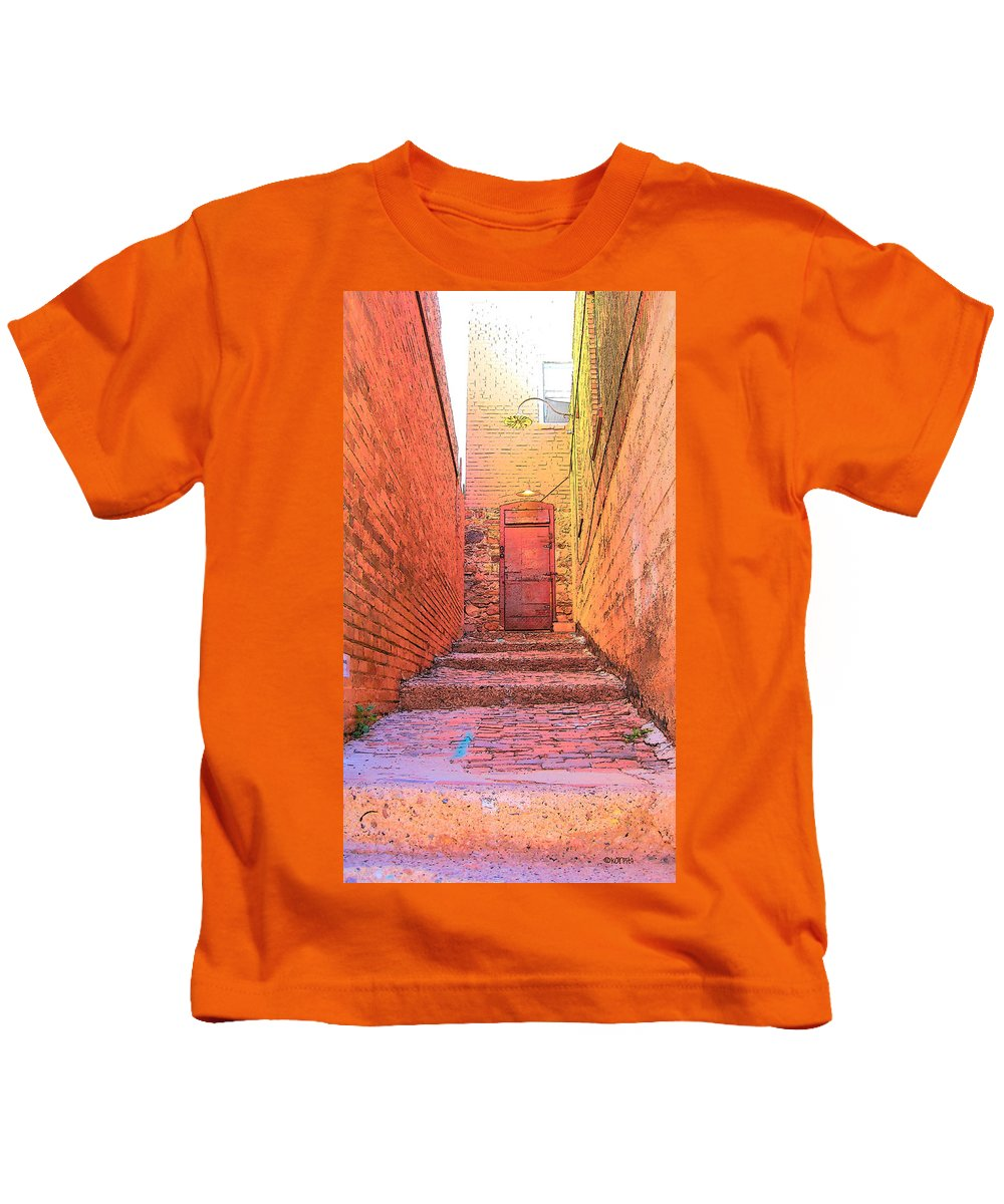 Rebecca Korpita Kids T-Shirt featuring the photograph Old Stairs - Bisbee Az by Rebecca Korpita