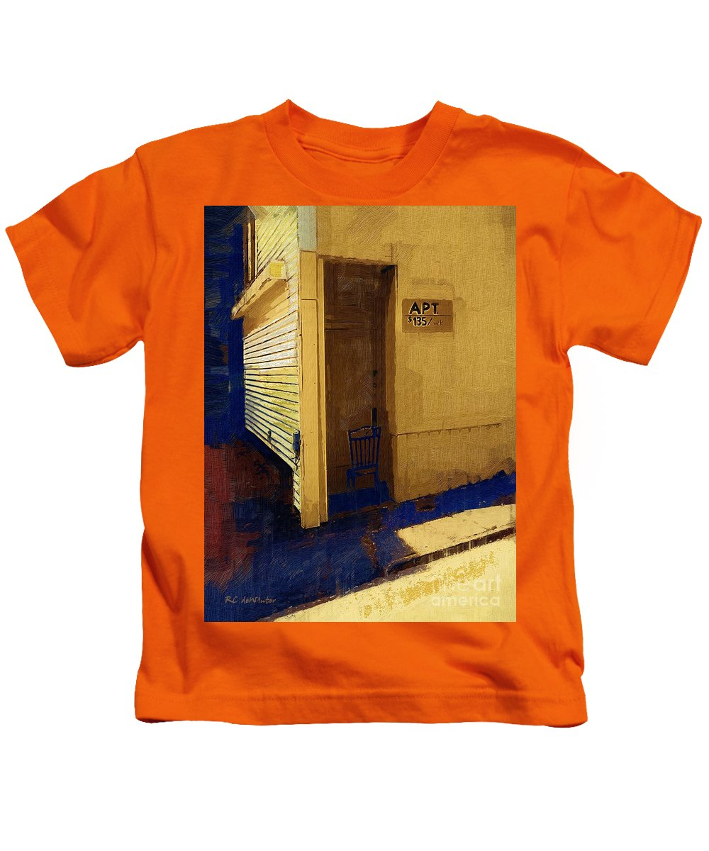 Building Kids T-Shirt featuring the painting Cheap Rent by RC DeWinter