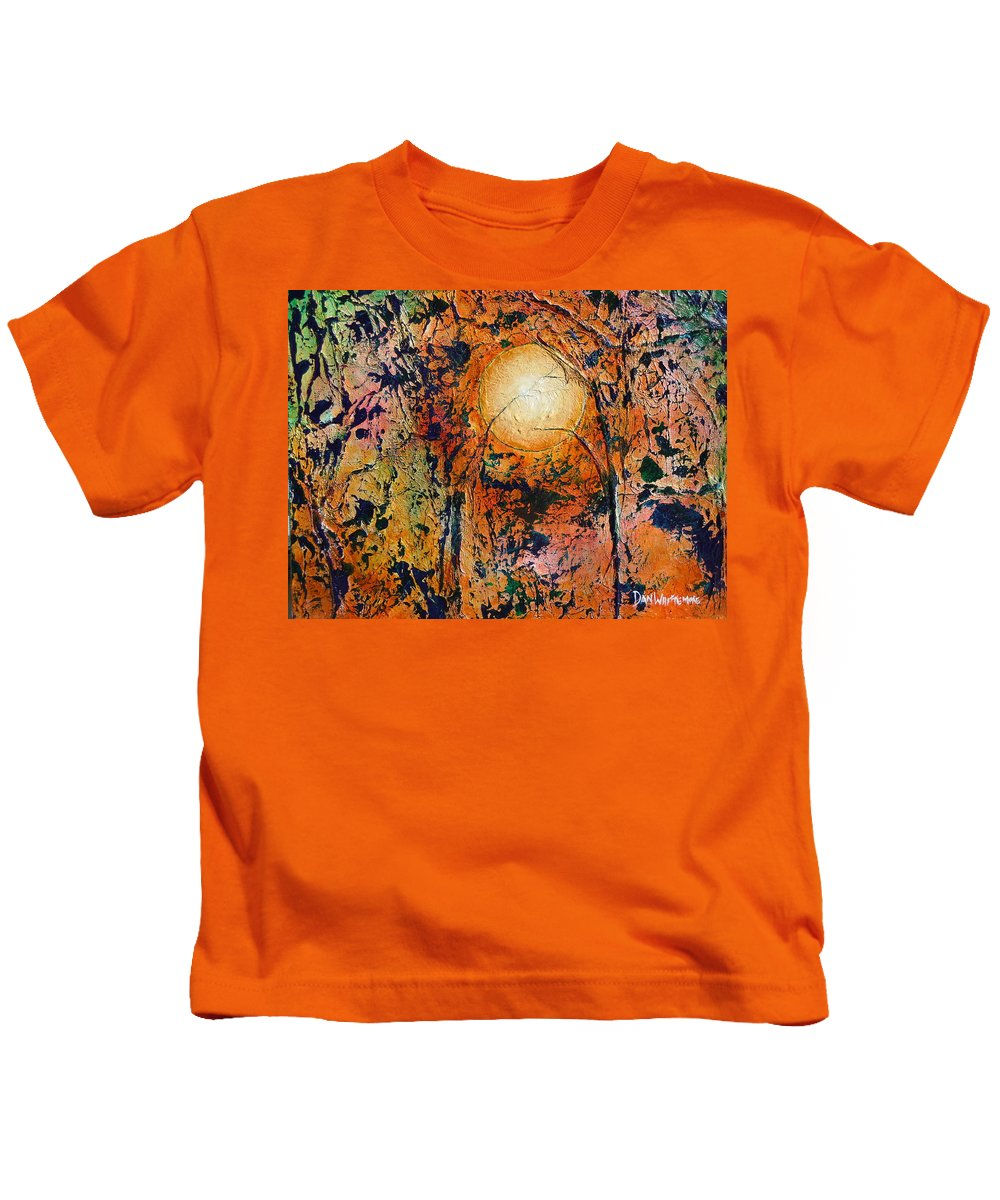 Abstract Landscape Kids T-Shirt featuring the painting Copper Moon by Dan Whittemore