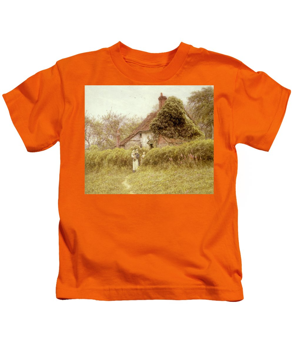 Garden; Cottage Kids T-Shirt featuring the painting Cottage At Pinner Middlesex by Helen Allingham