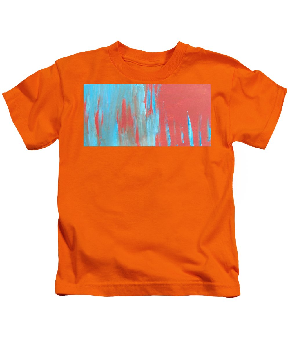 Abstract Kids T-Shirt featuring the painting Flames Of Ice by Lenore Senior
