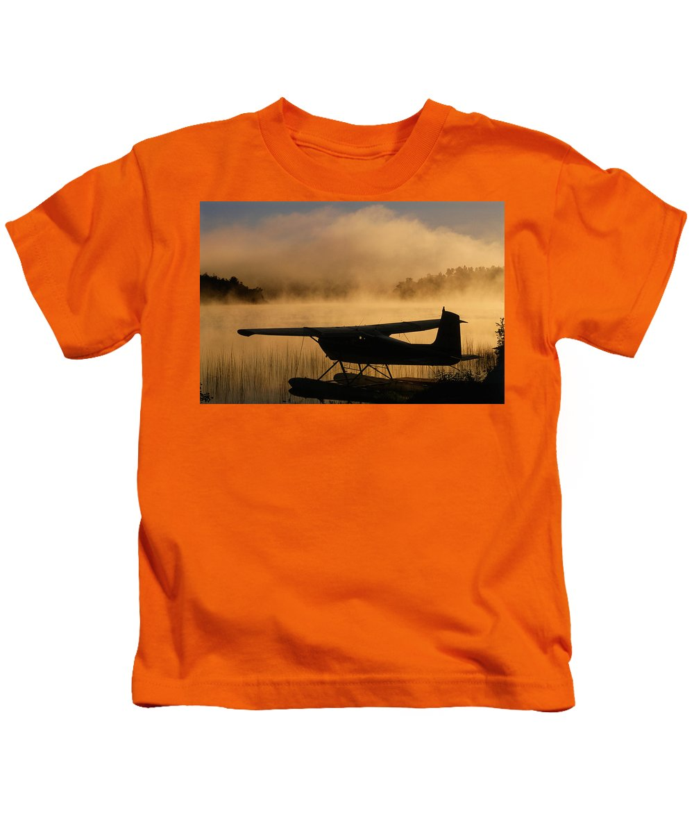 Back Shots Kids T-Shirt featuring the photograph Float Plane, Long Lake, Sudbury, Ontario by Mike Grandmailson