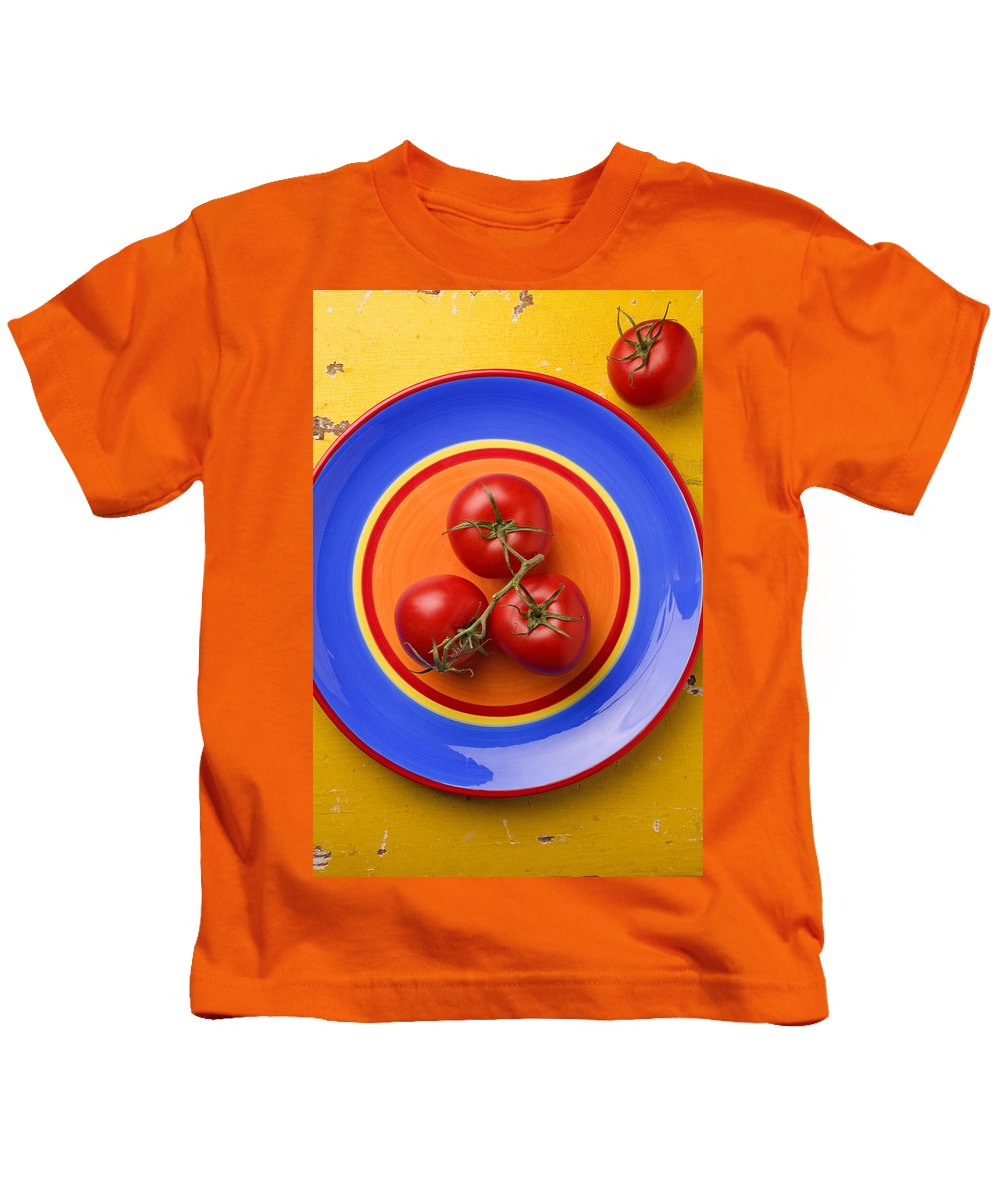 Four Tomatoes Kids T-Shirt featuring the photograph Four Tomatoes by Garry Gay