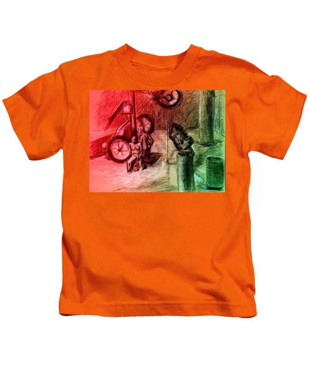 Australian Kids T-Shirt featuring the drawing Giro D'italia 1 by Giro Tavitian