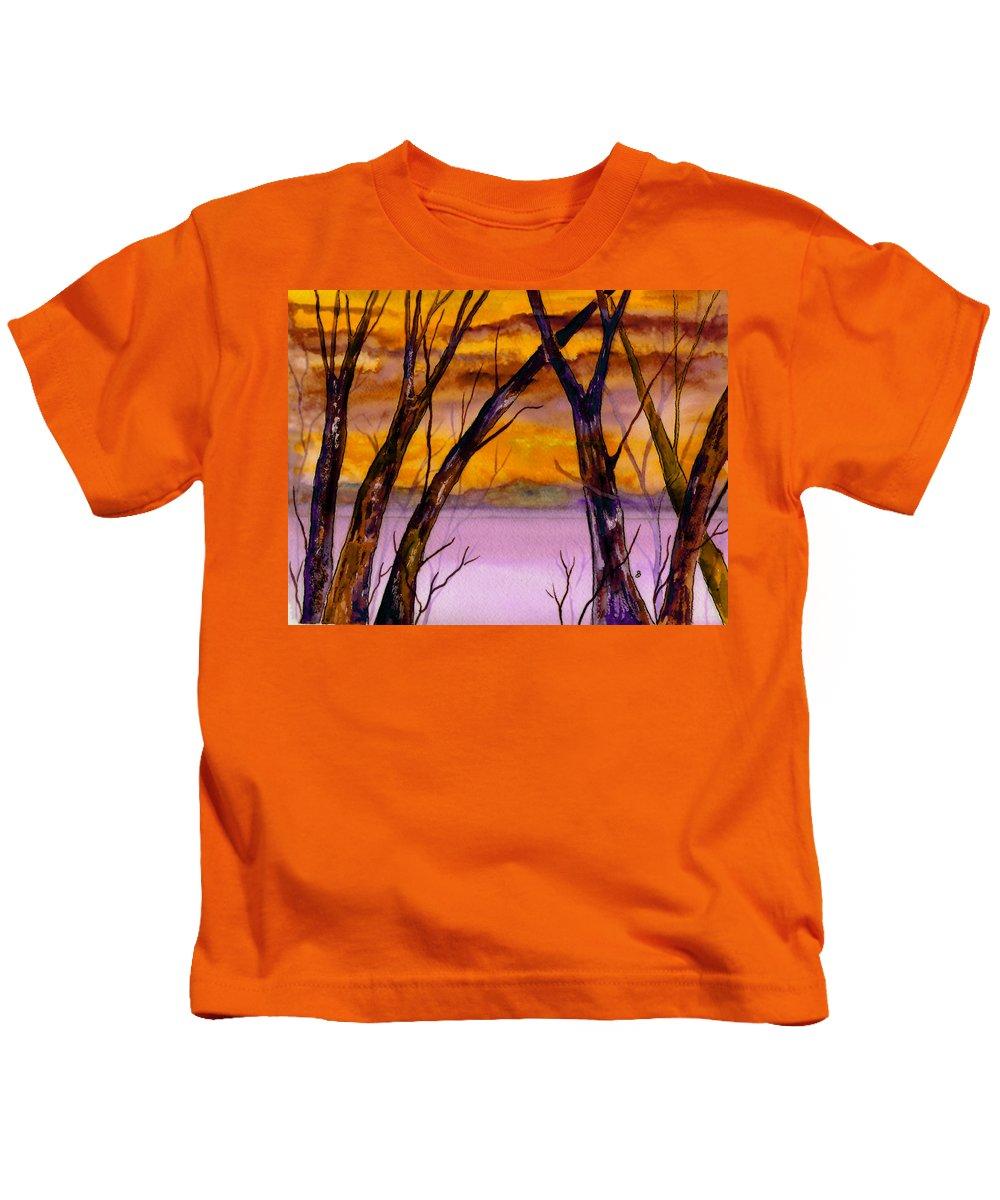 Landscape Kids T-Shirt featuring the painting Golden Sunset by Brenda Owen