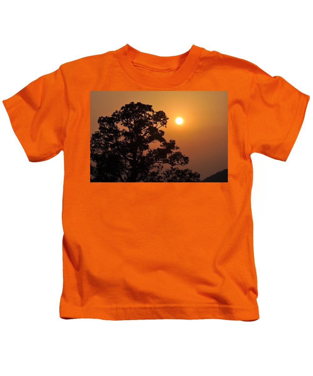 Sunset Kids T-Shirt featuring the photograph Hazy Sunset by Marty Koch